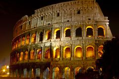 Coliseum at night Stock Image