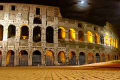 Coliseum At Night Stock Images