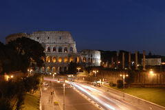 Coliseum night. Stunning night view of the roman colosseum in rome italy Royalty Free Stock Photography