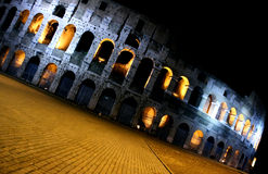 Coliseum by night. Rome - Colosseo at night, diagonal view Royalty Free Stock Image