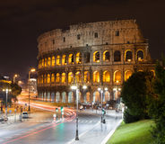 Coliseum at Night, Rome, Italy. Coliseum at Night, with traffic light trails, Rome, Italy Stock Image