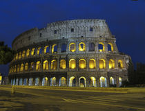 Coliseum by night in Rome royalty free stock photography
