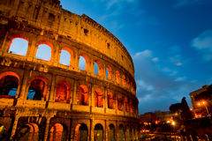 Coliseum by night with traffic, Rome Italy Stock Image