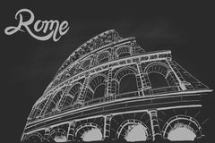 Coliseum på svart kritabräde rome italy stock illustrationer