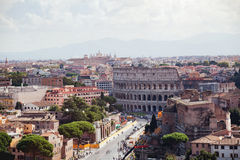 Coliseum and panoramic view of Rome Stock Photo