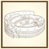 Coliseum postcard. For web and print use stock illustration