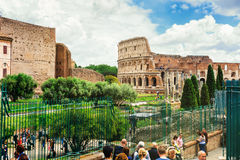 Coliseum from Roman Forum. Rome, Italy. Stock Images