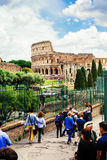 Coliseum from Roman Forum. Rome, Italy. Royalty Free Stock Image