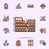 Coliseum, roman, monumental icon. Universal set of history for website design and development, app development. On color background royalty free illustration