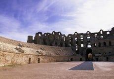 Coliseum- romano Tunísia fotografia de stock