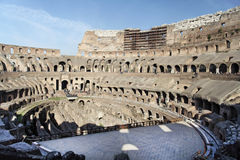 Coliseum Rome. Detail of the audience of the Coliseum ruins in Rome with its arches and galleries Stock Photo