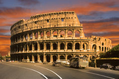 The coliseum in rome. The coliseum at sunset in Rome Royalty Free Stock Photos