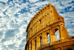 The coliseum in Rome, Italy. One of the seven marvels of the world in a cloudy day Royalty Free Stock Photography