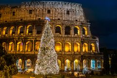 Coliseum of Rome, Italy on christmas. The Iconic, the legendary Coliseum of Rome, Italy on christmas Stock Photo