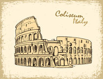 Coliseum in Rome, Italy. Colosseum hand drawn vector illustration. In old paper, ink sketch stock illustration