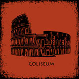 Coliseum in Rome, Italy. Colosseum hand drawn vector illustration, the style of ancient vase painting background. Coliseum in Rome, Italy. Black silhouette royalty free illustration