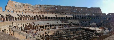 The inside of the Coliseum in Rome, Italy - panorama royalty free stock image