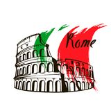 Coliseum in Rome, Italy. Rome Colosseum sign. Italian famous landmark Coliseum. Travel Italy label. Rome architectural icon with lettering royalty free illustration