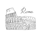 Coliseum Rome Italy white background. Illustration of the Colosseum in Rome, Italy. A hand on a white background. The letters were written by hand. Historical Royalty Free Stock Photo