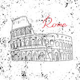 Coliseum Rome Italy white background. Illustration of the Colosseum in Rome, Italy. A hand on a white background. The letters were written by hand. Historical Stock Image