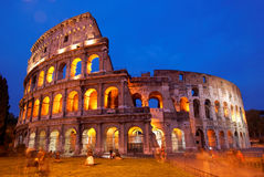 Coliseum in Rome by night, Italy. The Coliseum in Rome by night (at twilight). One of the most known landmark of Italy Royalty Free Stock Photography