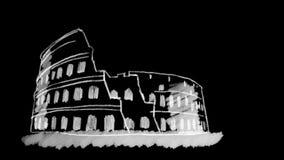 Coliseum som dras på den svarta svart tavlan med vit krita royaltyfri illustrationer