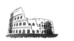Coliseum som dras på den vita svart tavlan med svart krita royaltyfri illustrationer