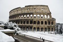 Coliseum under snow. This picture was taken february 4th 2012, after one of the heaviest snowfall in Rome since 1985. This is the historic center of Rome Stock Images