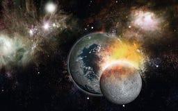 Colisión de dos planetas Fotos de archivo libres de regalías