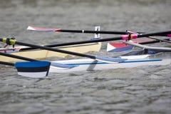 Colisión del barco de Rowing fotografía de archivo libre de regalías