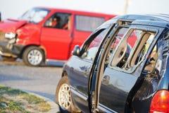 Colisión del choque de coche foto de archivo libre de regalías