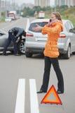 Colisión del choque de coche Fotografía de archivo