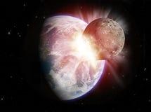 Colisión del planeta Fotografía de archivo libre de regalías