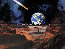 Colisión asteroide con la tierra vista de la luna Imagen de archivo libre de regalías