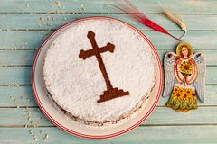 Coliva -koliva -traditional Eastern Orthodox Church. Dessert for memorial service.nnColiva is made from rough grounted wheat or barley stock photo