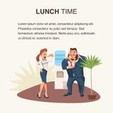 Collègue deux mangeant de la pizza à la bannière de lieu de travail illustration de vecteur