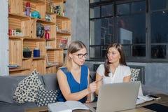 Collègues intelligents ayant la conversation, lisant l'information sur le site Web sur le filet-livre image libre de droits