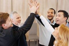 Collègues joyeux avec plaisir montrant leur esprit d'équipe Image libre de droits