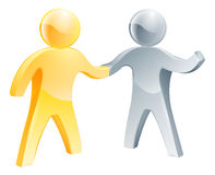 Collaborating concept. Of two human figures shaking hands Stock Photo