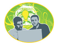 Collaboration. Vector Graphic of two men working at a laptop vector illustration