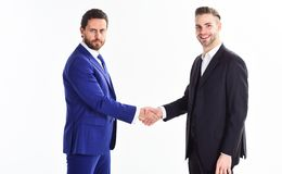 Collaboration of business people. Men shaking hands. Handshake sign of successful deal. Business meeting. Business deal. Leaders company. Capital merger. Glad stock photos