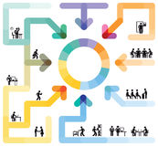 Collaboration of business professionals. Web icons representing business professionals in graphic representing collaboration Stock Photos