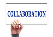 Collaboration. Businessman is writing Collaboration concept on transparent white board Royalty Free Stock Photography