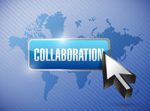 Collaboration button illustration design Royalty Free Stock Images