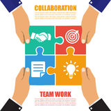 Collaboration concept. Cooperation, teamwork. Successful solution puzzle. Symbol of partnership. Vector, flat design royalty free illustration