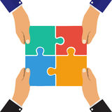 Collaboration concept. Cooperation, teamwork. Successful solution puzzle. Symbol of partnership. Vector, flat design. Collaboration  concept. Cooperation Stock Photo