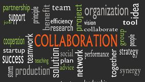 Collaboration concept in word cloud isolated on black background - Illustration.  vector illustration