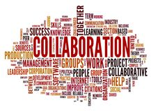 Collaboration concept in word tag cloud vector illustration