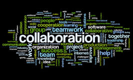 Collaboration concept in word tag cloud. Isolated on black background Stock Images