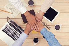Collaboration connection team brainstorming inity. Teamwork stacking hand concept stock photo